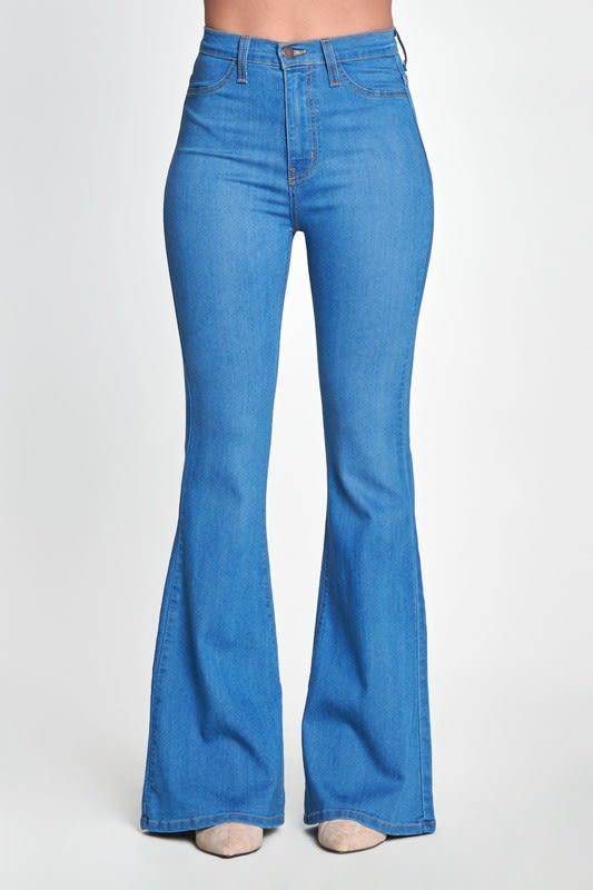 High Rise Flare Jeans - Medium stone - Detail