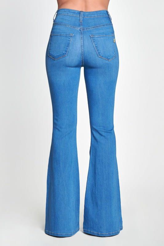 High Rise Flare Jeans - Medium stone - Back