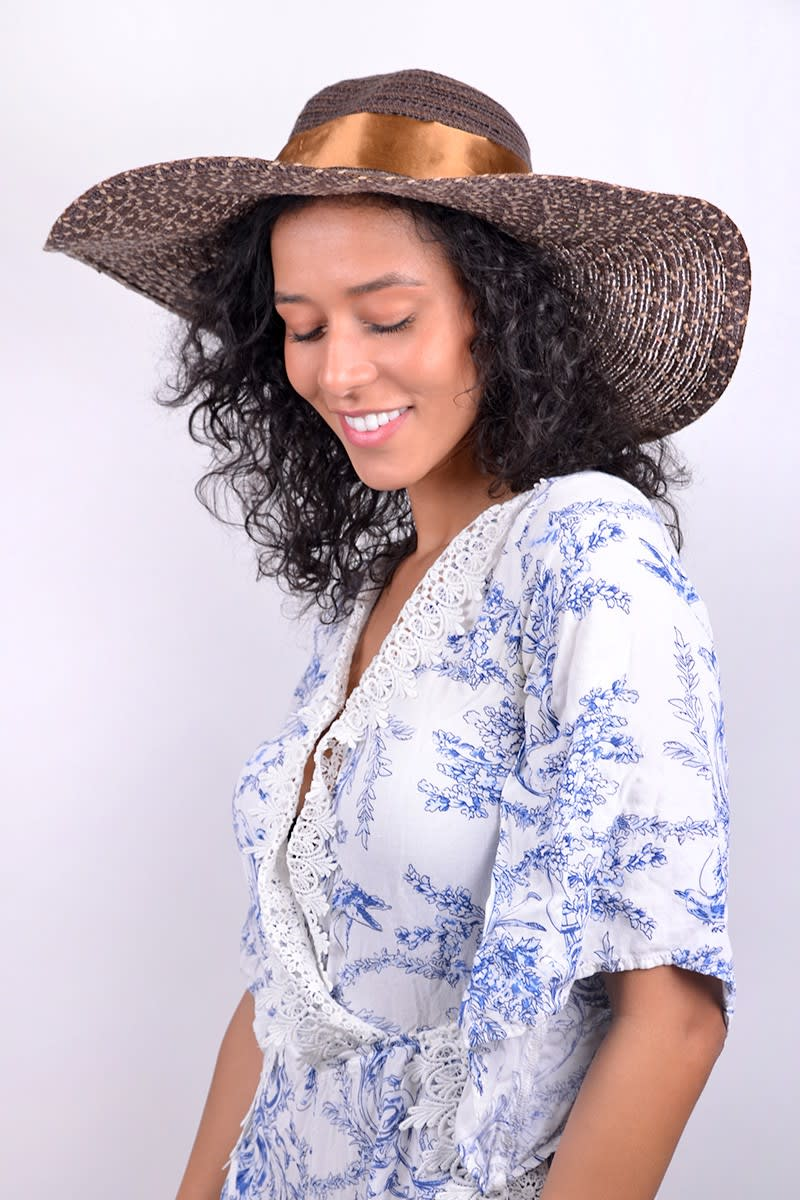 Brown Floppy Hat W/ Bow - Brown - Front