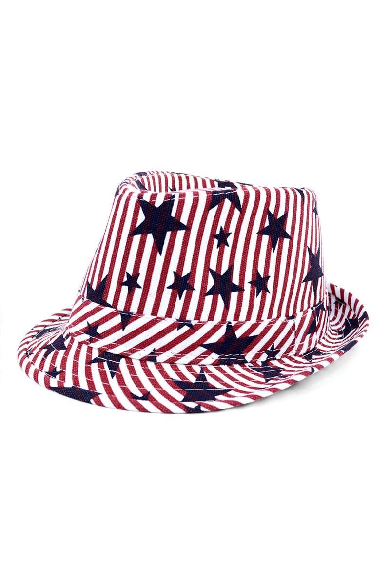 Spring/Summer USA Stars StripesTrilby Fedora - One Color - Front
