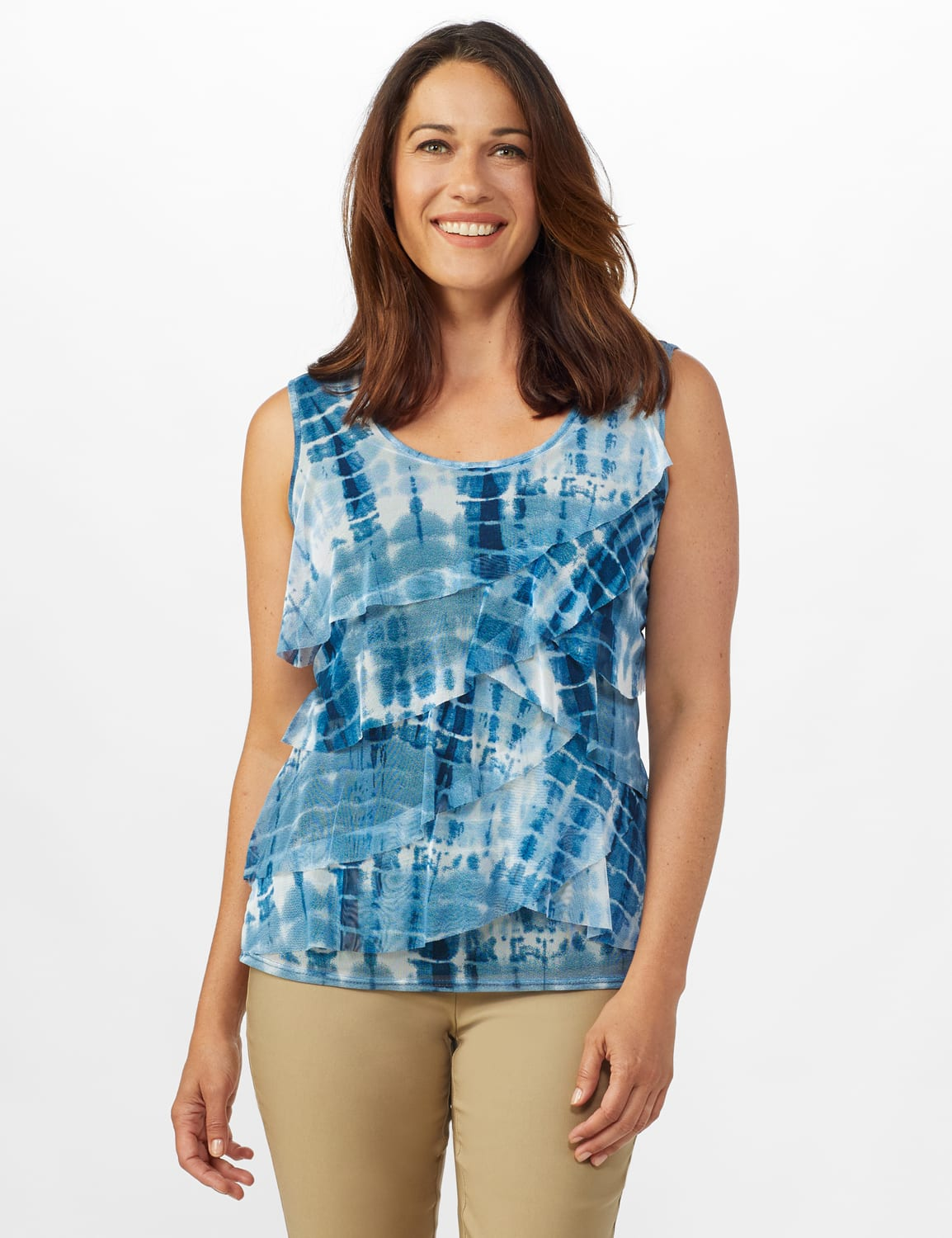 Tie Dye Mesh Tier Knit Top - Navy - Front