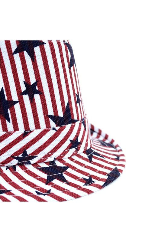 Spring/Summer USA Stars StripesTrilby Fedora - One Color - Detail