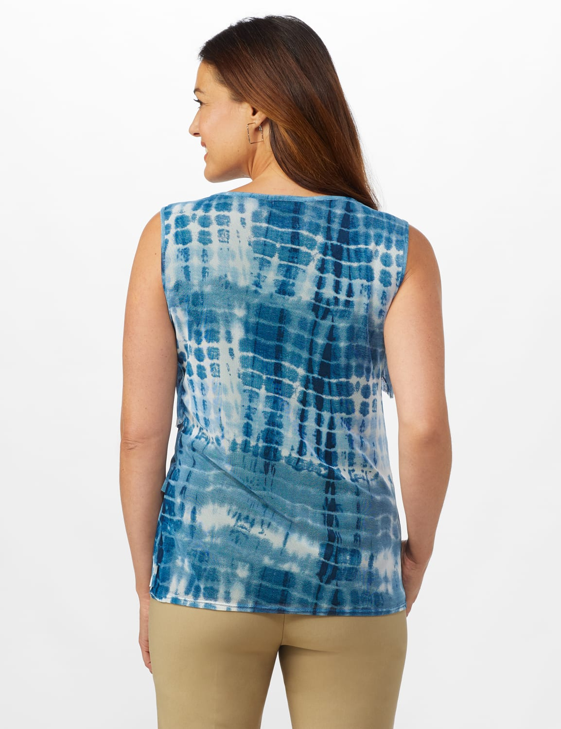 Tie Dye Mesh Tier Knit Top - Navy - Back