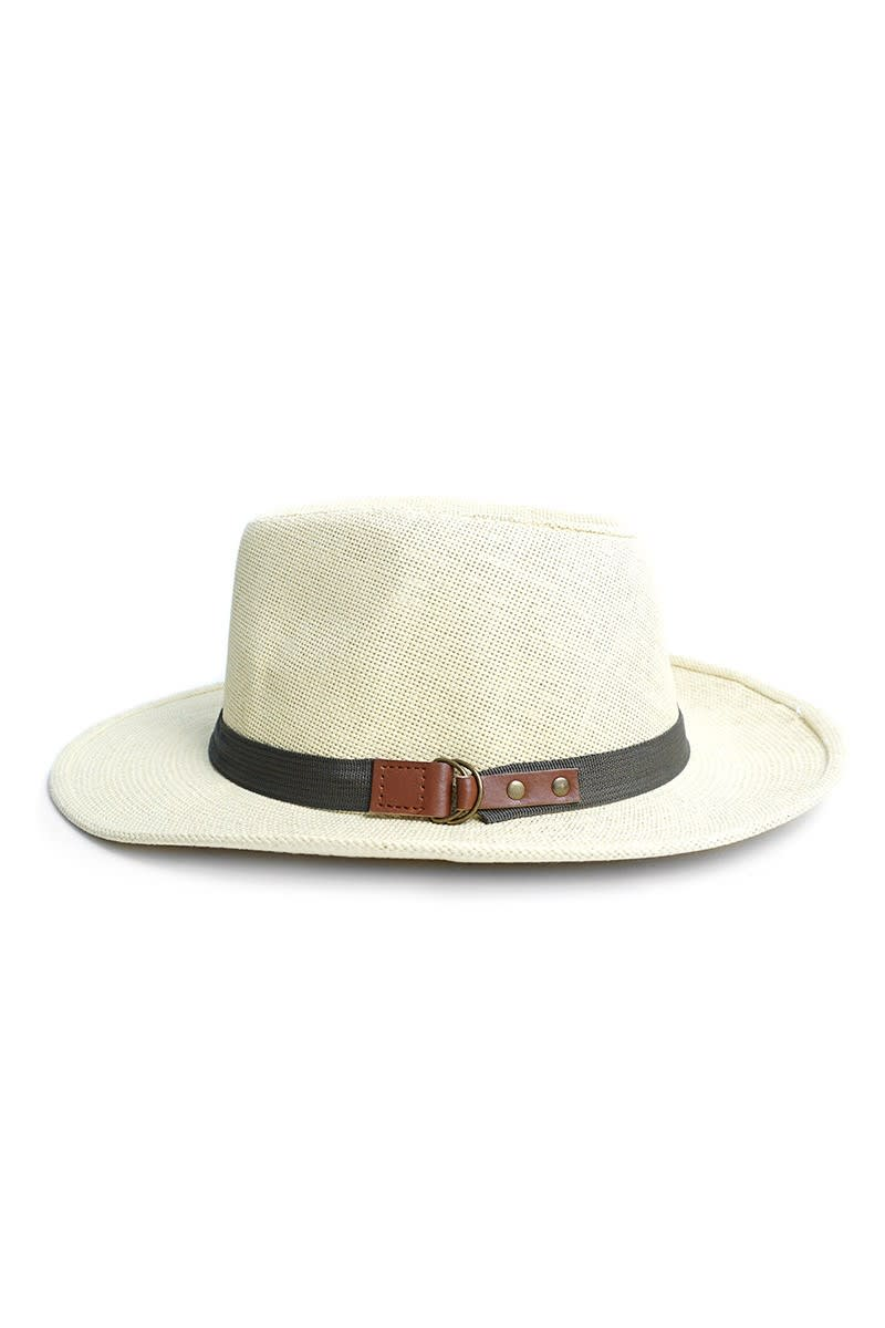 Stylish Wide Brim Panama Fedora Hats - Honey Gold - Front