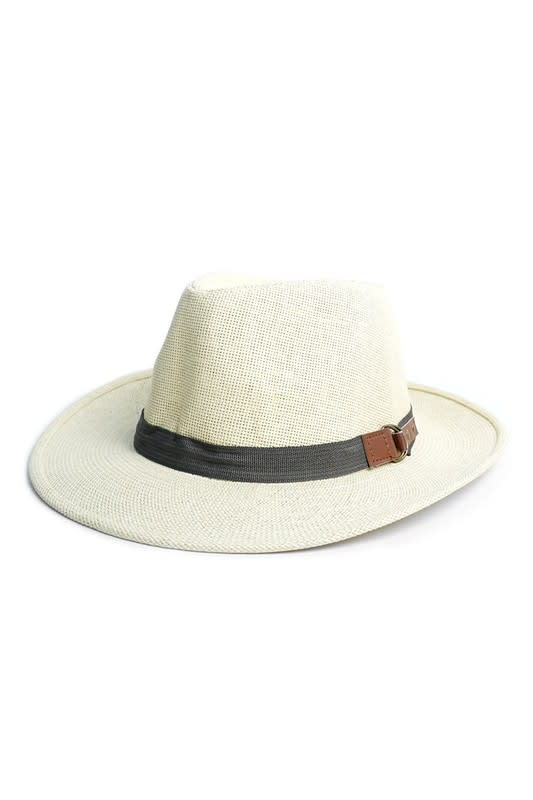 Stylish Wide Brim Panama Fedora Hats - Honey Gold - Back