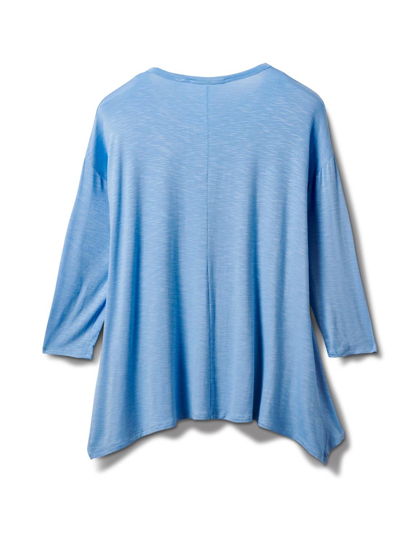 Texture Shark Bite Hem Knit Tunic - Misses - Blue - Back