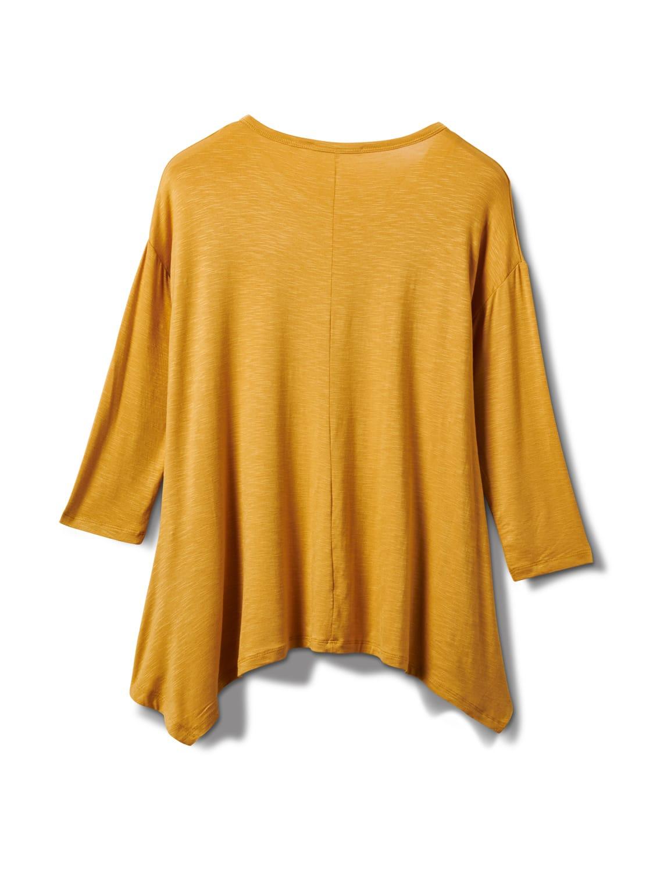 Texture Shark Bite Hem Knit Tunic - Misses - Mustard - Back