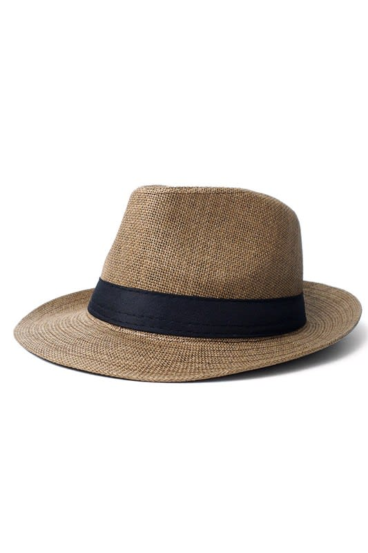 Spring/ Summer Wide Brim Panama Hat - Brown - Back