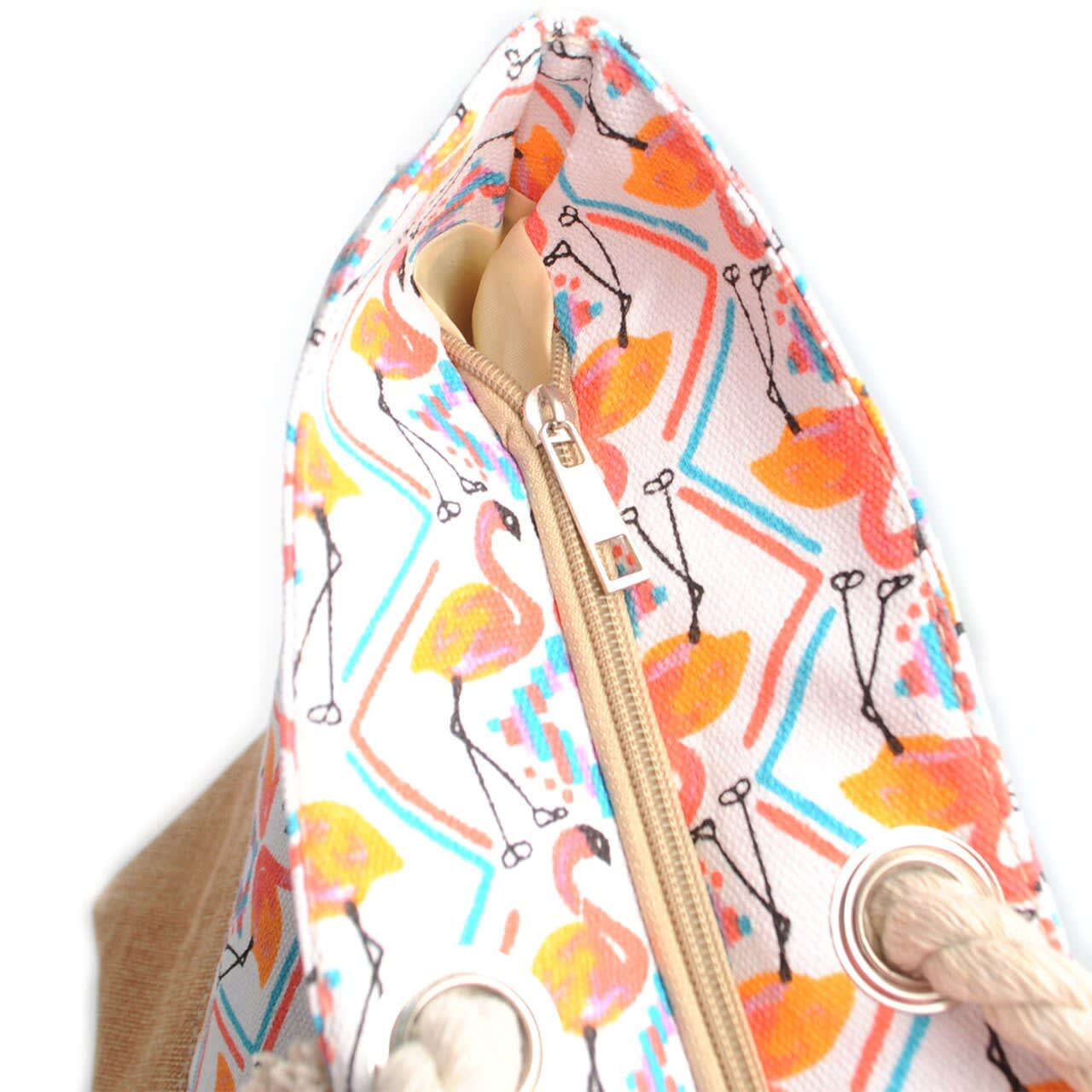 Flamingo Tote Beach Bag - Light Beige - Detail
