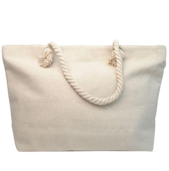 Tropical Rhinestone Tote Bag - Light Beige - Back