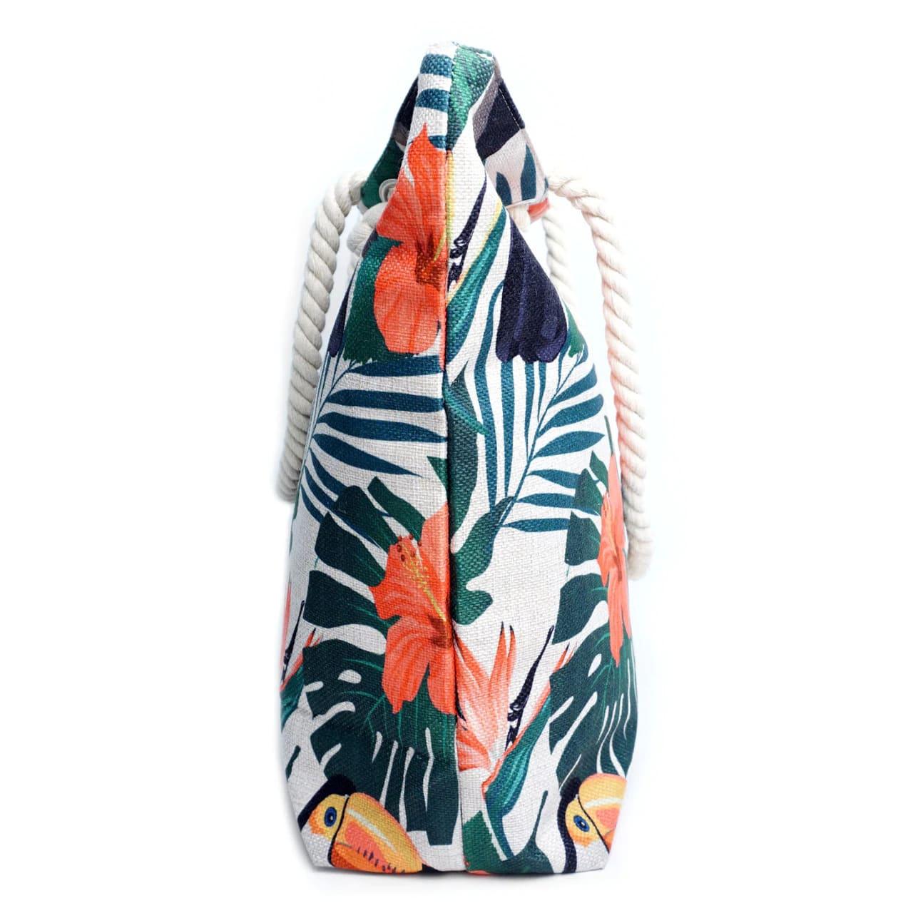 Toucan Tropical Tote Beach Bag - Light Beige - Back