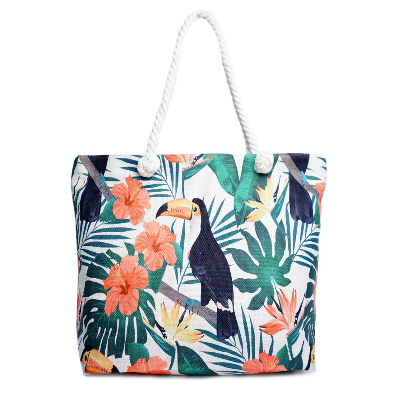 Toucan Tropical Tote Beach Bag - Light Beige - Front