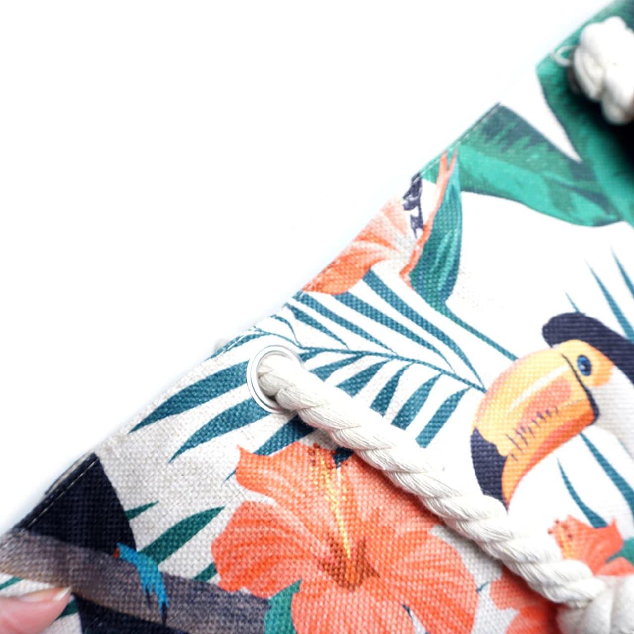 Toucan Tropical Tote Beach Bag - Light Beige - Detail