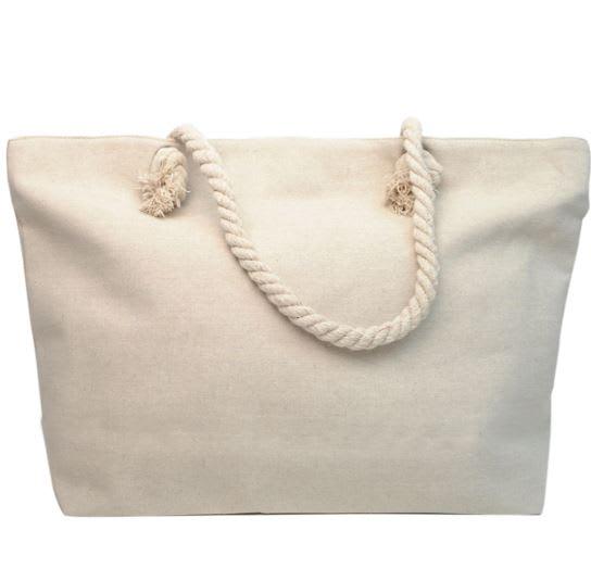 Tropical Rhinestones Tote Bag - Light Beige - Back