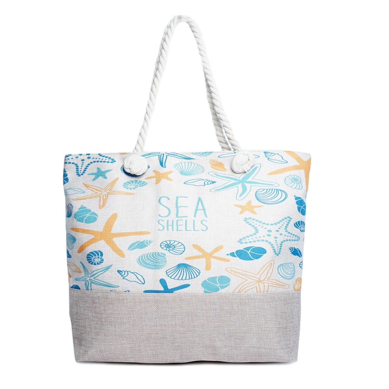 Sea Shells Tote Bag - Light Beige - Front