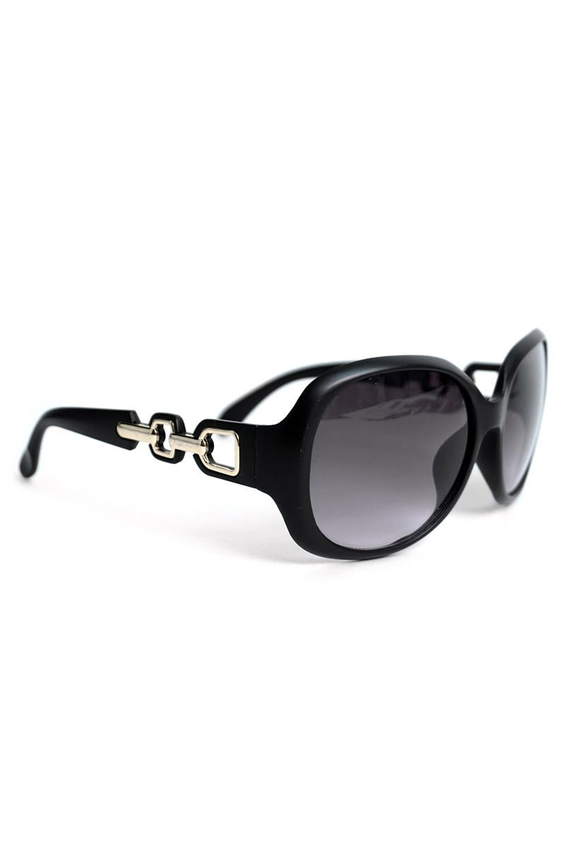 Round Black Sunglasses - Black - Back