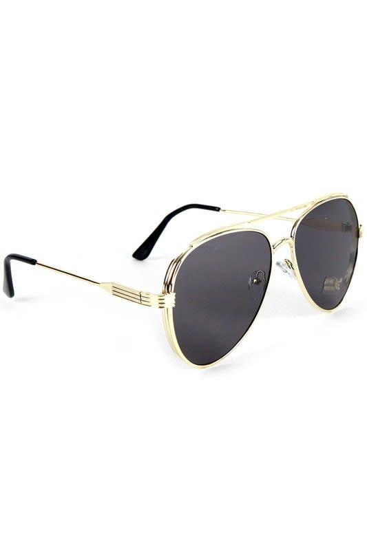 Gold Metal Frame Aviator Sunglasses - Gold - Back