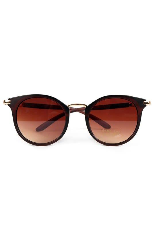 Dark Brown Round Sunglasses - Dark Brown - Front