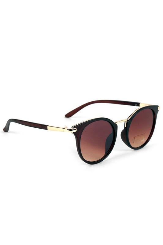 Dark Brown Round Sunglasses - Dark Brown - Back