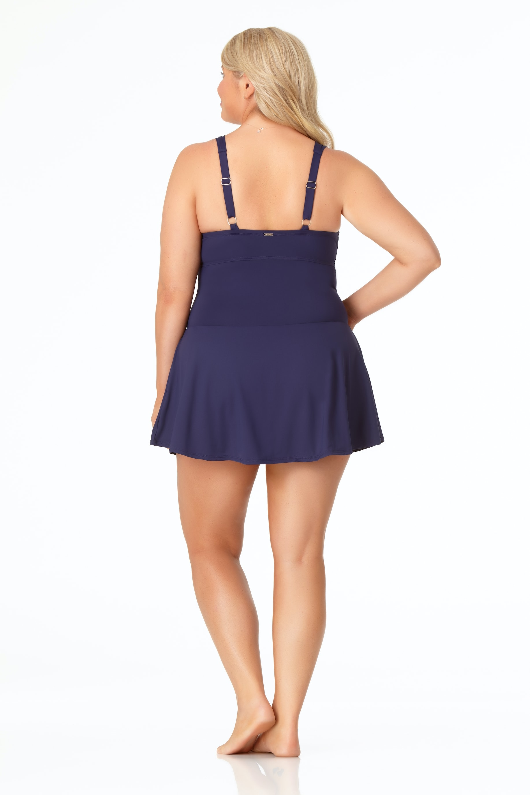 Anne Cole® Live in Color Swimdress One Piece Swimsuit - Navy - Back