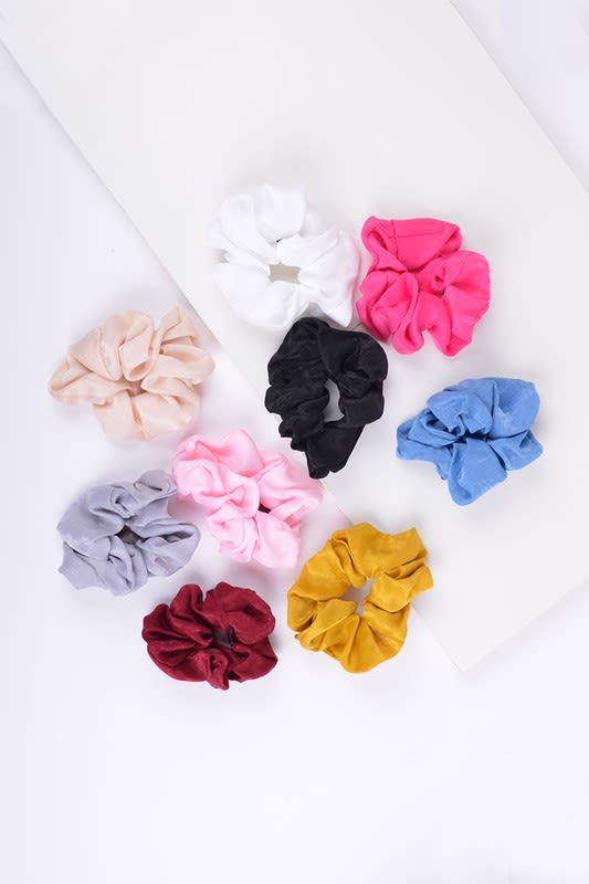 12-piece Solid Scrunchie Hair Ties - Multi - Front