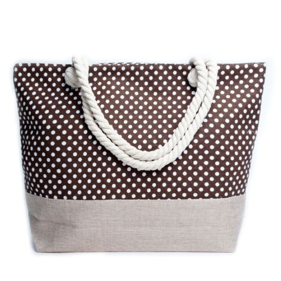 Polka Dots Tote Bag - Brown - Front