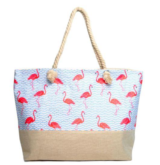 Flamingo Rhinestone Tote Beach Bag - Light Beige  - Front