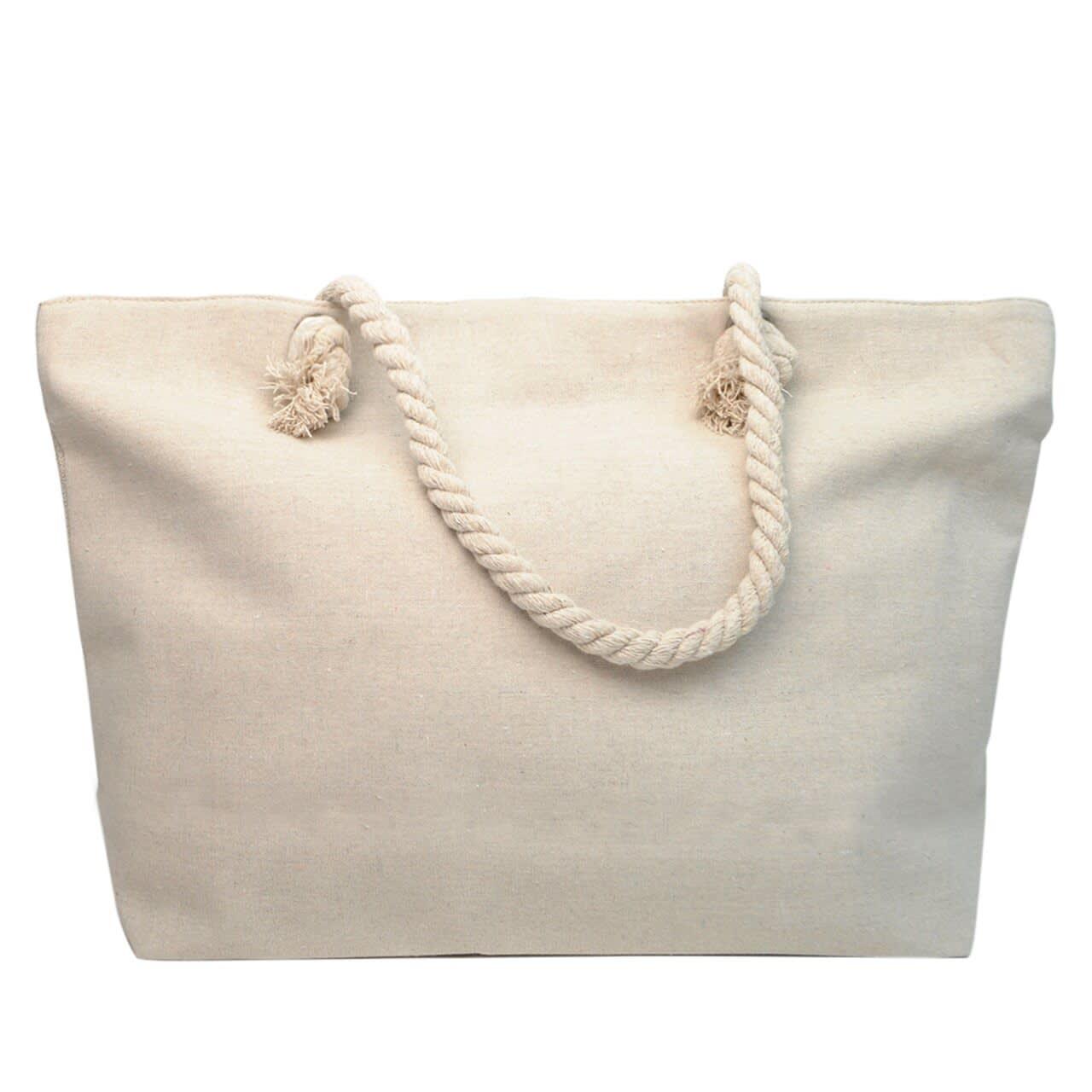 Flamingo Rhinestone Tote Beach Bag - Light Beige  - Back