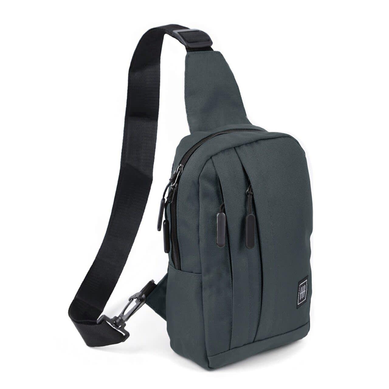 Crossbody Sling Bag W/ Reversible Strap - Charcoal - Back