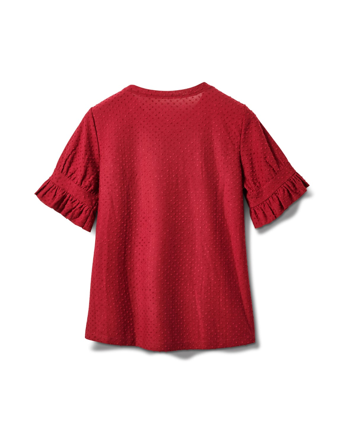 Ruffle Sleeve Clip Dot Tee - Burgundy - Back