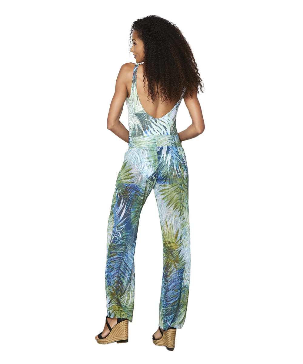 Tahari® Camo Palm Pant Swimsuit Cover-Up - Green - Back
