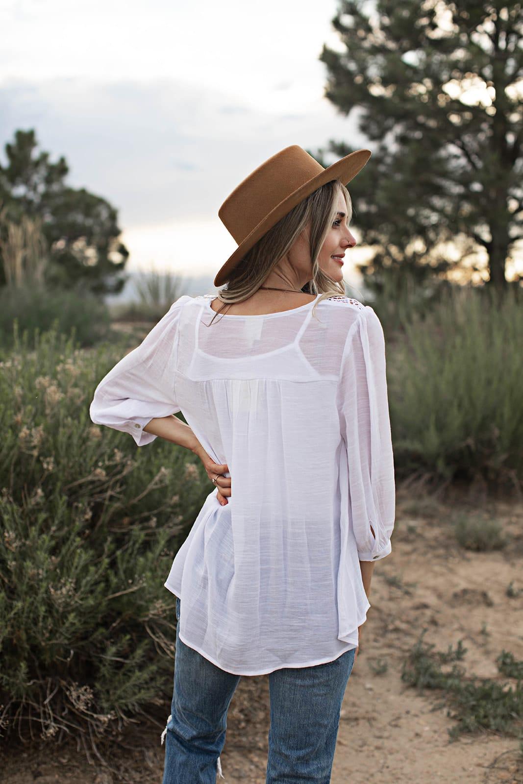 Crochet Textured Blouse - White - Back