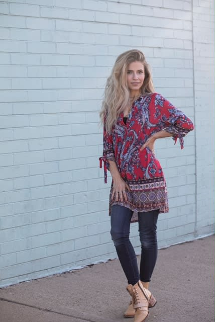 Border Paisley Knit Tunic with Ruched Sleeves - RED/TEAL - Front