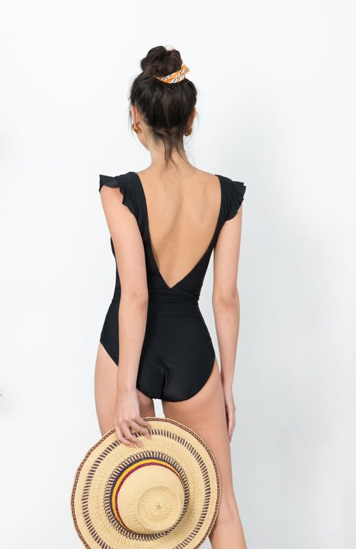 Low V-Neck Ruffle Sleeve Swimsuit - Black - Back