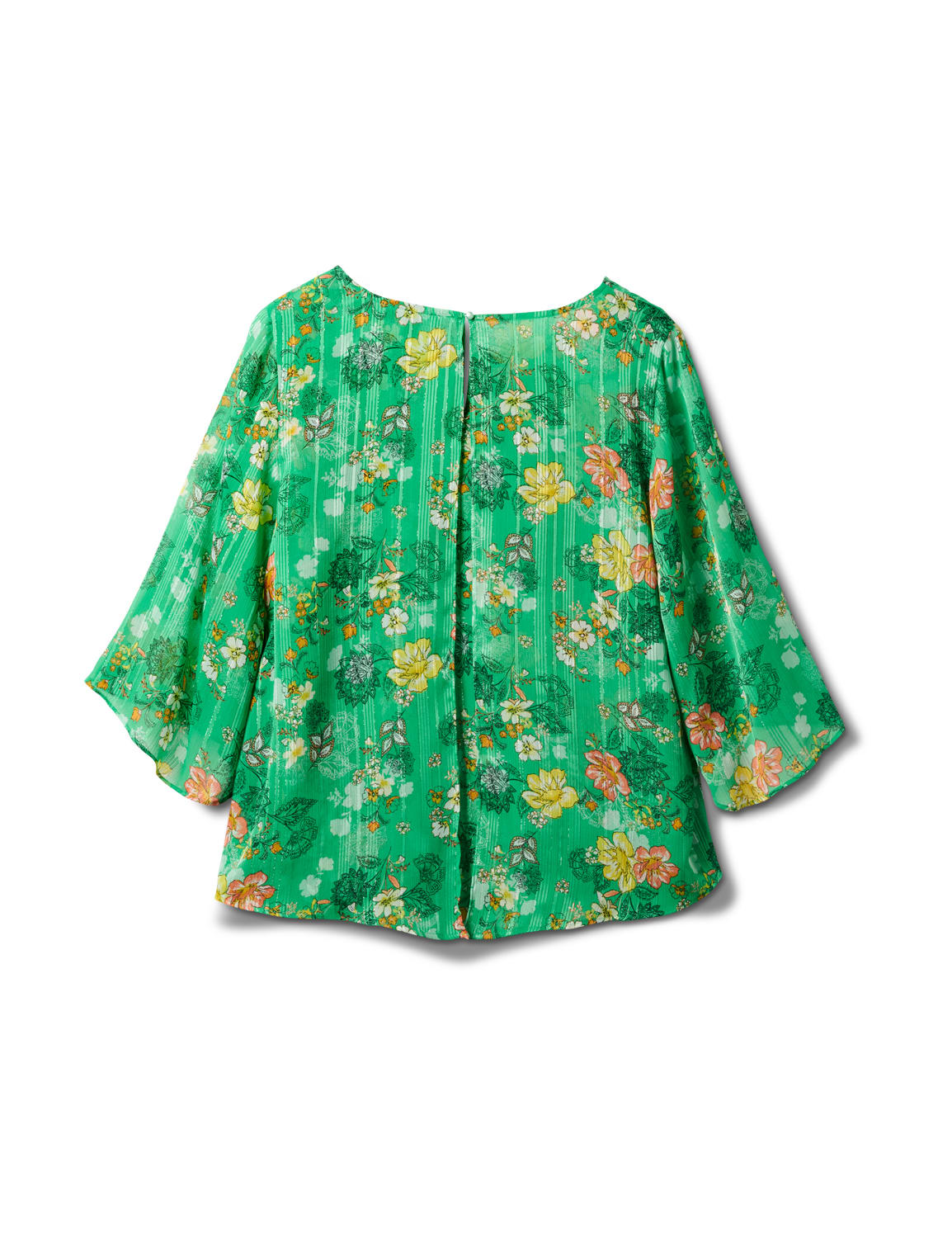 Green Floral Fly Away Back Blouse - Green - Back