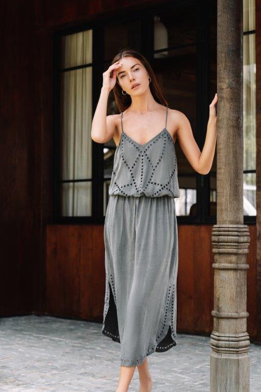 Lisa Midi Dress - Charcoal - Front