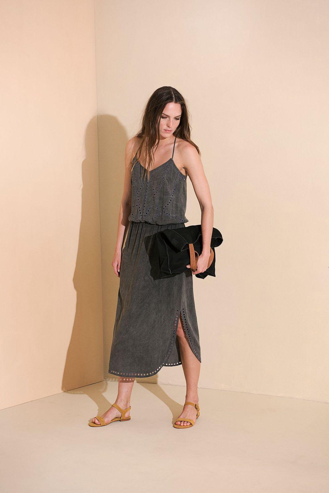 Lisa Midi Dress - Charcoal - Back