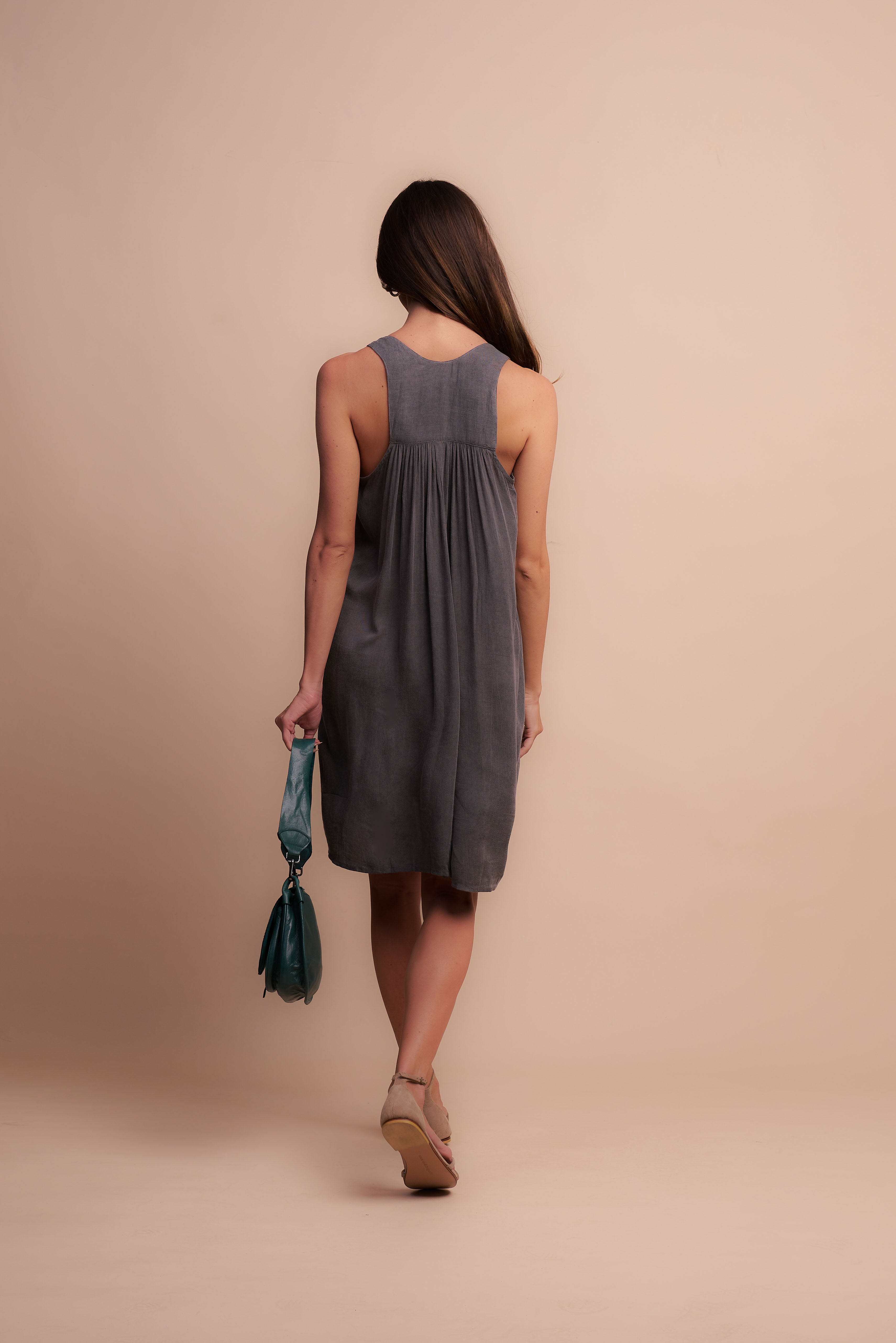 Nicky Dress - Charcoal - Back
