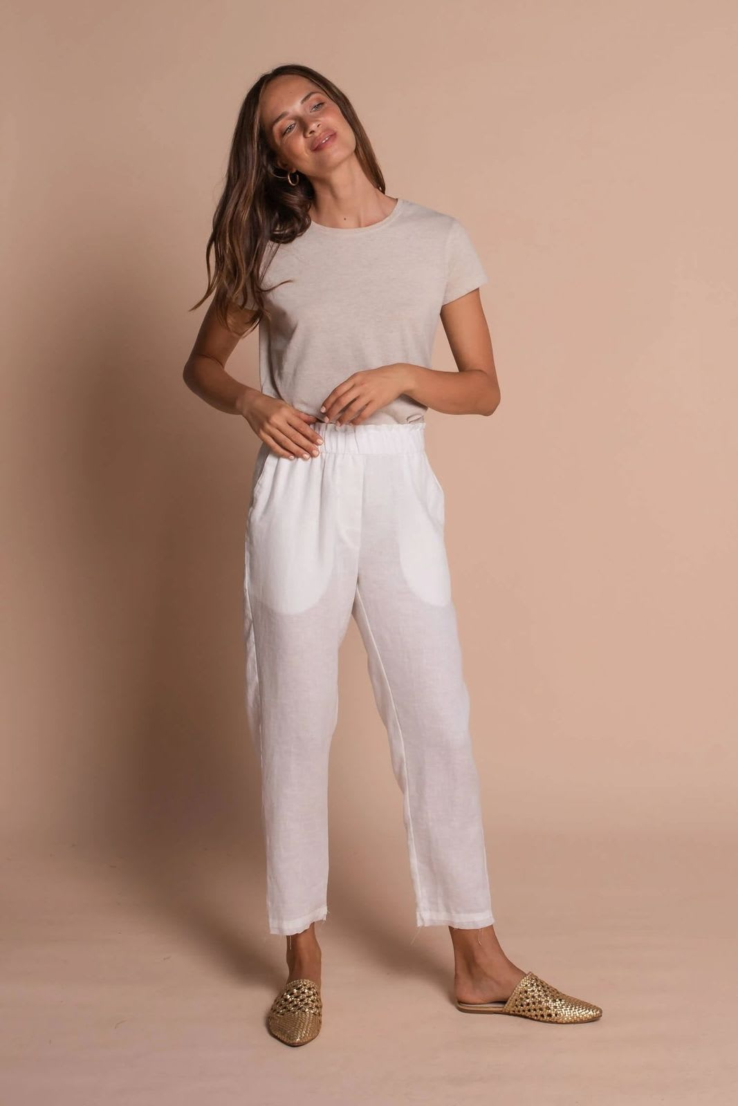 Taylor High Waist Pants - Off white - Front