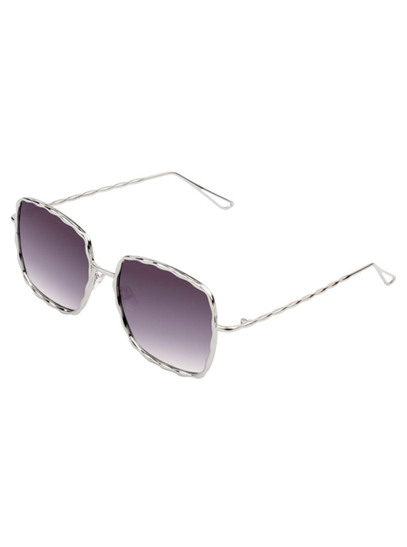Fashionable Square Sunglasses - Silver-Purple - Back