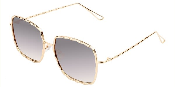 Fashionable Square Sunglasses - Gold-Silver - Back