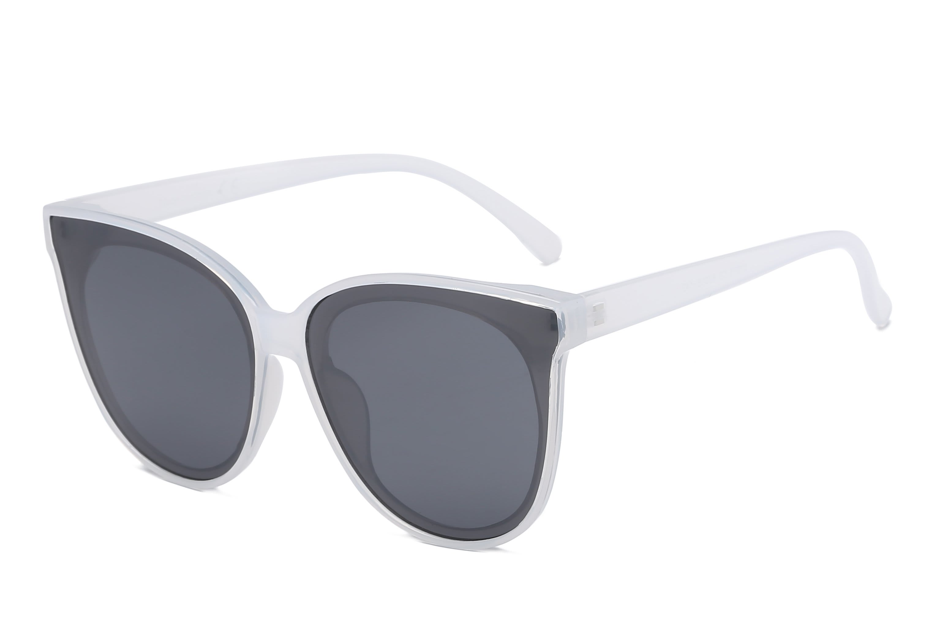 Round Cat-Eye Sunglasses - White - Front
