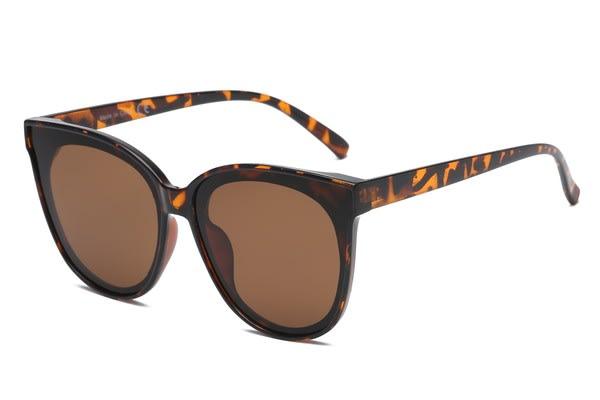 Round Cat-Eye Sunglasses - Tortoise - Back