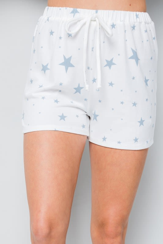 Star Print Jersey shorts - Blue - Front