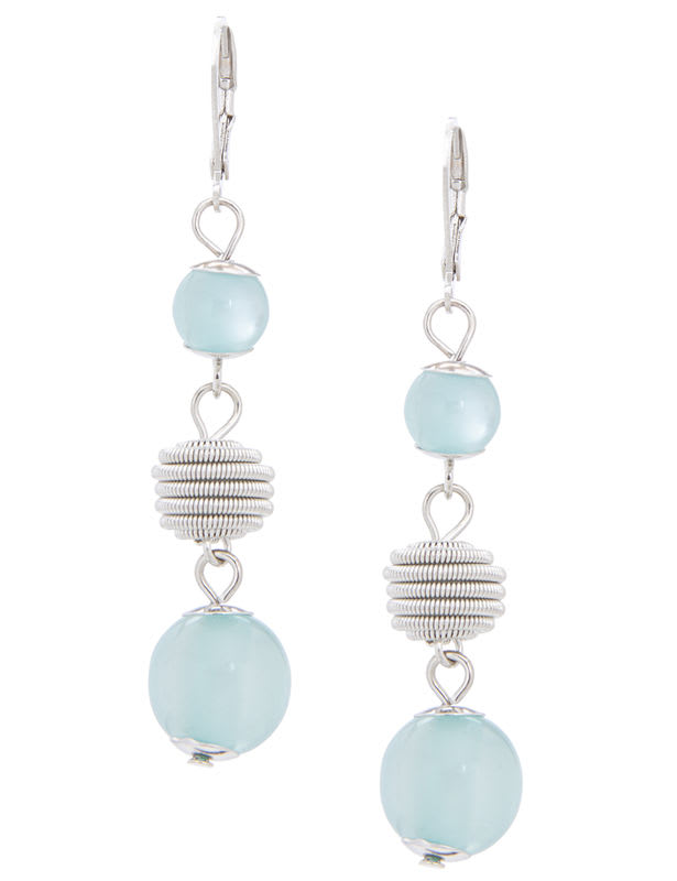 Multi Bead Drop Wire Earring - Silver /Turqoise - Front