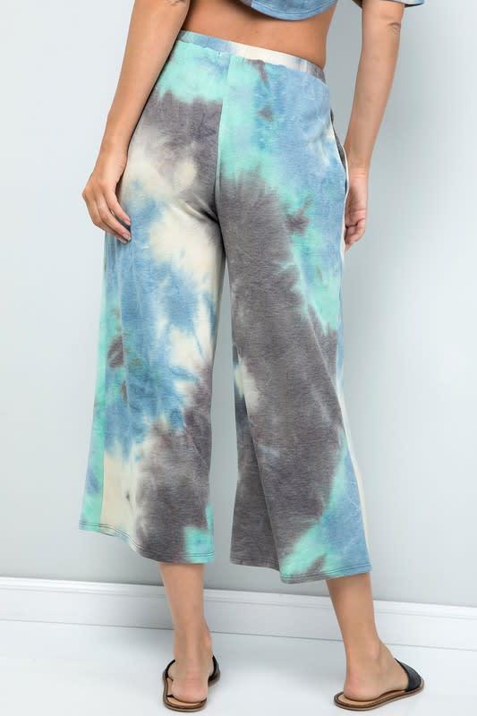Multi-color Cropped Wide-Leg Pants - Blue charcoal - Back