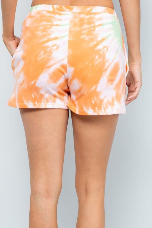 Vibrant Tie Dye Print Shorts - Orange - Back