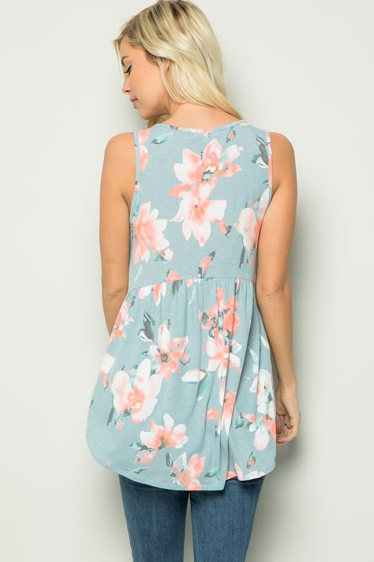Floral Tunic Top - Blue - Back
