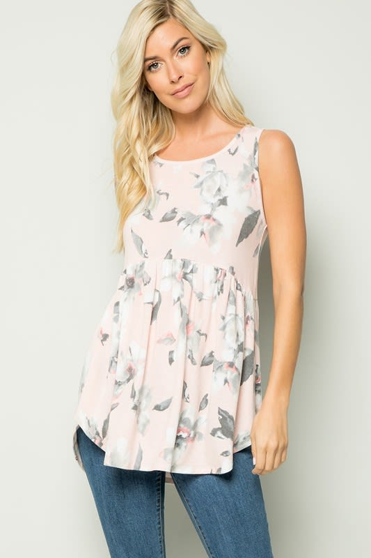 Floral Tunic Top - Blush - Detail