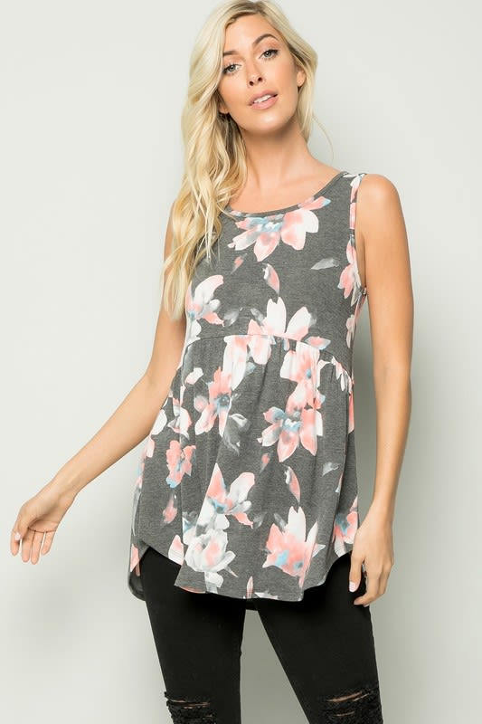Floral Tunic Top - Charcoal - Detail